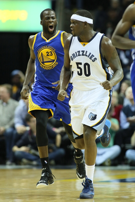 Dec 16, 2014; Memphis, TN, USA; Memphis Grizzlies forward Zach Randolph (50) and Golden State Warriors forward Draymond Green (23) shout at each other after a play at FedExForum. Grizzlies defeated the Warriors 105-98. Mandatory Credit: Nelson Chenault-USA TODAY Sports