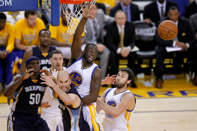 May 3, 2015; Oakland, CA, USA; Golden State Warriors forward Draymond Green (23) is unable to gain control of a rebound against the Memphis Grizzlies during the third quarter in game one of the second round of the NBA Playoffs at Oracle Arena. The Warriors defeated the Grizzlies 101-86. Mandatory Credit: Cary Edmondson-USA TODAY Sports