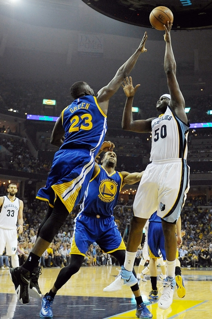 May 9, 2015; Memphis, TN, USA; Memphis Grizzlies forward Zach Randolph (50) shoots over Golden State Warriors forward Draymond Green (23) during game three of the second round of the NBA Playoffs at FedExForum. Mandatory Credit: Justin Ford-USA TODAY Sports