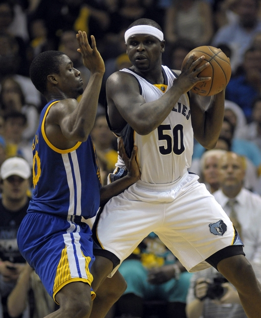 May 11, 2015; Memphis, TN, USA; Memphis Grizzlies forward Zach Randolph (50) handles the ball against Golden State Warriors forward Harrison Barnes (40) in game four of the second round of the NBA Playoffs at FedExForum. Golden State Warriors beat Memphis Grizzlies 101-84. Mandatory Credit: Justin Ford-USA TODAY Sports
