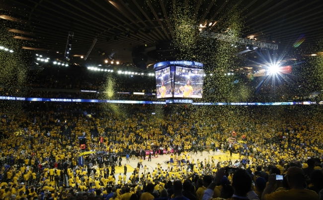 May 19, 2015; Oakland, CA, USA; A general view as confetti falls from the rafters after game one of the Western Conference Finals of the NBA Playoffs between the Golden State Warriors and Houston Rockets at Oracle Arena. Mandatory Credit: Kelley L Cox-USA TODAY Sports
