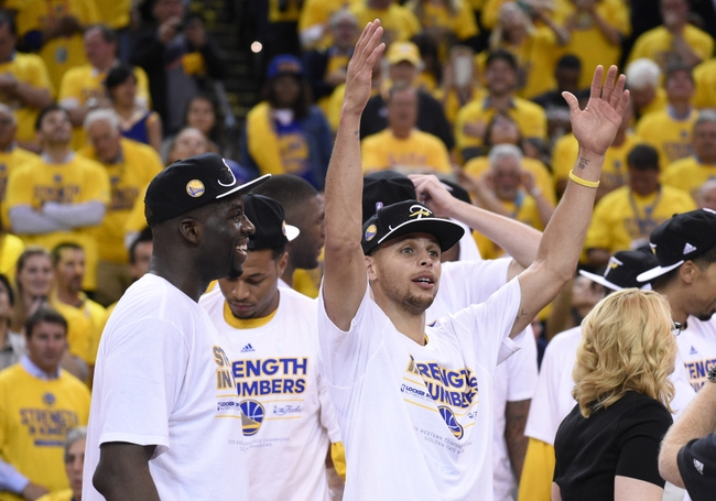 May 27, 2015; Oakland, CA, USA; (Editor's Note: Caption Correction) Golden State Warriors guard Stephen Curry (30) celebrates after defeating the Houston Rockets in game five of the Western Conference Finals of the NBA Playoffs at Oracle Arena. Mandatory Credit: Kyle Terada-USA TODAY Sports