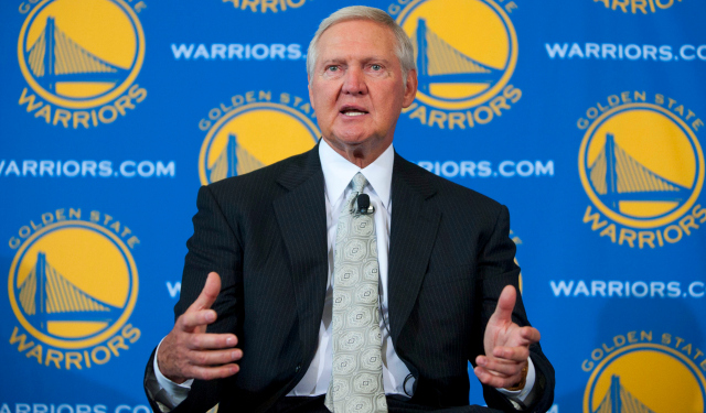 May 24, 2011; San Francisco, CA, USA; Jerry West addresses the media during a press conference after being introduced as a new executive board member for the Golden State Warriors at the St. Regis Hotel. Mandatory Credit: Kyle Terada-US PRESSWIRE