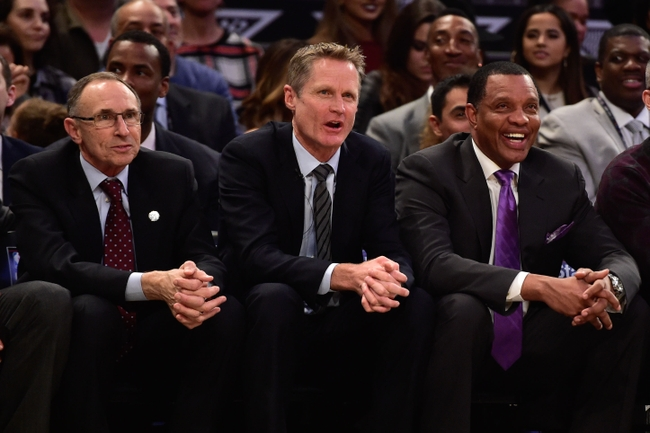 February 15, 2015; New York, NY, USA; Western Conference head coach Steve Kerr of the Golden State Warriors (middle) watches with assistant coach Ron Adams (left) and assistant coach Alvin Gentry (right) during the first quarter of the 2015 NBA All-Star Game against the Eastern Conference at Madison Square Garden.Mandatory Credit: Bob Donnan-USA TODAY Sports