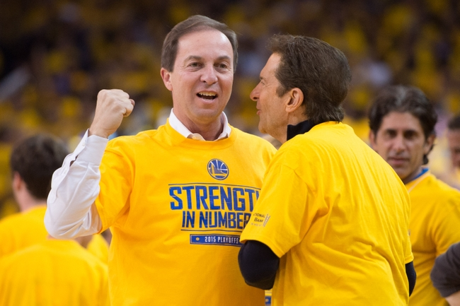 April 20, 2015; Oakland, CA, USA; Golden State Warriors co-owners Joe Lacob (left) and Peter Guber (right) during the second quarter in game two of the first round of the NBA Playoffs against the New Orleans Pelicans at Oracle Arena. The Warriors defeated the Pelicans 97-87. Mandatory Credit: Kyle Terada-USA TODAY Sports