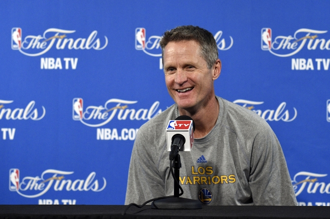 Jun 3, 2015; Oakland, CA, USA; Golden State Warriors head coach Steve Kerr talks to the media after practice prior to the NBA Finals at Oracle Arena. Mandatory Credit: Kyle Terada-USA TODAY Sports