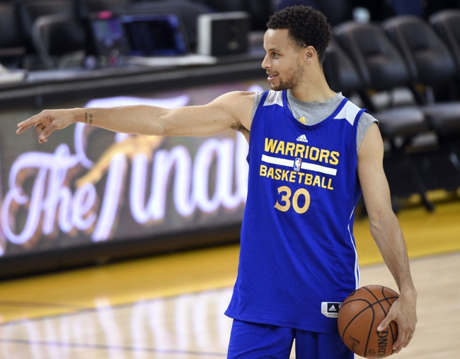 Jun 3, 2015; Oakland, CA, USA; Golden State Warriors guard Stephen Curry (30) during practice prior to the NBA Finals at Oracle Arena. Mandatory Credit: Kyle Terada-USA TODAY Sports