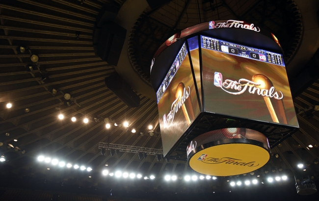 Jun 4, 2015; Oakland, CA, USA; A view of the scoreboard before game one of the NBA Finals between the Golden State Warriors and the Cleveland Cavaliers at Oracle Arena. Mandatory Credit: Kelley L Cox-USA TODAY Sports