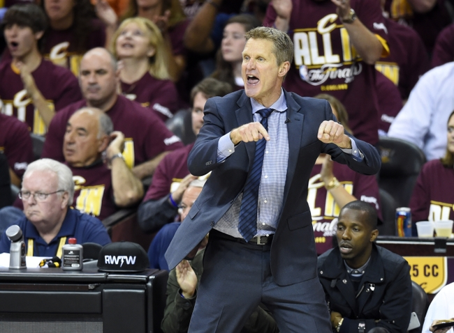 Jun 9, 2015; Cleveland, OH, USA; Golden State Warriors head coach Steve Kerr reacts during the third quarter of game three of the NBA Finals against the Cleveland Cavaliers at Quicken Loans Arena. Mandatory Credit: David Richard-USA TODAY Sports