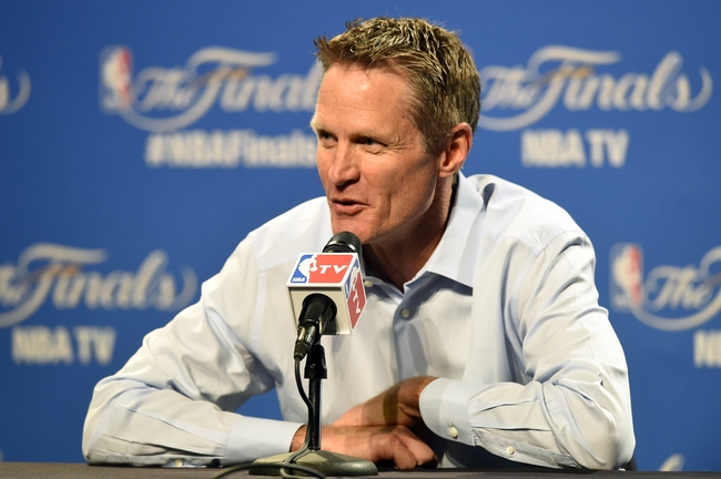 Jun 11, 2015; Cleveland, OH, USA; Golden State Warriors head coach Steve Kerr talks to the media game four of the NBA Finals against the Cleveland Cavaliers at Quicken Loans Arena. Mandatory Credit: David Richard-USA TODAY Sports