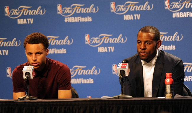 Jun 11, 2015; Cleveland, OH, USA; Golden State Warriors guard Stephen Curry  and guard Andre Iguodala talk to the media after game four of the NBA Finals against the Cleveland Cavaliers at Quicken Loans Arena. Mandatory Credit: Ken Blaze-USA TODAY Sports