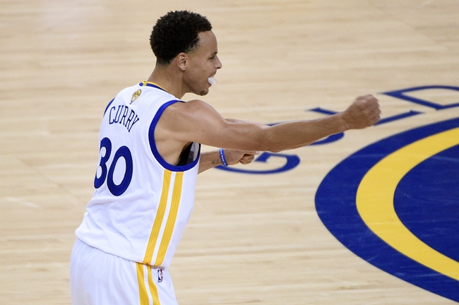 Jun 14, 2015; Oakland, CA, USA; (editor note: caption correction) Golden State Warriors guard Stephen Curry (30) reacts during the fourth quarter against the Cleveland Cavaliers in game five of the NBA Finals at Oracle Arena. Mandatory Credit: Kyle Terada-USA TODAY Sports