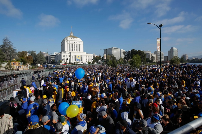 Jun 19, 2015; Oakland, CA, USA; Fans gather before the Golden State Warriors 2015 championship celebration at the Henry J. Kaiser Convention Center overlooking Lake Merritt. Mandatory Credit: Kelley L Cox-USA TODAY Sports