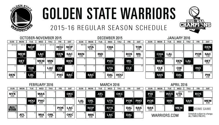 photograph about Golden State Warriors Printable Schedule titled Warriors Routine: 2015-16 Month-to-month Period Declared