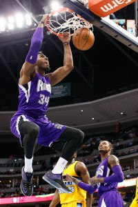 Apr 12, 2015; Denver, CO, USA; Sacramento Kings forward Jason Thompson (34) dunks the ball in the second quarter against the Denver Nuggets at Pepsi Center. Mandatory Credit: Isaiah J. Downing-USA TODAY Sports