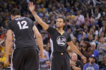 Nov 14, 2015; Oakland, CA, USA; Golden State Warriors guard Stephen Curry (30) reacts after the Warriors force a turnover against the Brooklyn Nets in overtime at Oracle Arena. The Warriors defeated the Nets 107-99. Mandatory Credit: Cary Edmondson-USA TODAY Sports