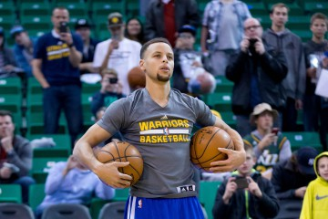 Nov 30, 2015; Salt Lake City, UT, USA; Golden State Warriors guard Stephen Curry (30) warms up prior to the game against the Utah Jazz at Vivint Smart Home Arena. Mandatory Credit: Russ Isabella-USA TODAY Sports