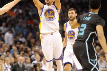 Dec 2, 2015; Charlotte, NC, USA; Golden State Warriors guard Stephen Curry (30) shoots a jump shot during the first half of the game against the Charlotte Hornets at Time Warner Cable Arena. Mandatory Credit: Sam Sharpe-USA TODAY Sports