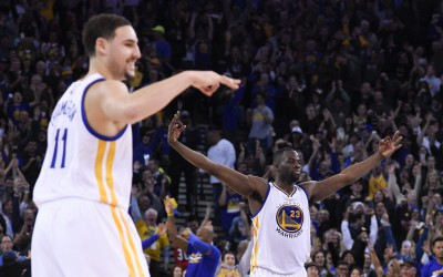 December 18, 2015; Oakland, CA, USA; Golden State Warriors guard Klay Thompson (11) and forward Draymond Green (23) celebrate during the fourth quarter against the Milwaukee Bucks at Oracle Arena. The Warriors defeated the Bucks 121-112. Mandatory Credit: Kyle Terada-USA TODAY Sports