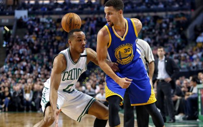 Dec 11, 2015; Boston, MA, USA; Golden State Warriors guard Stephen Curry (30) throws a behind the back pass past Boston Celtics guard Avery Bradley (0) during the first half at TD Garden. Mandatory Credit: Winslow Townson-USA TODAY Sports