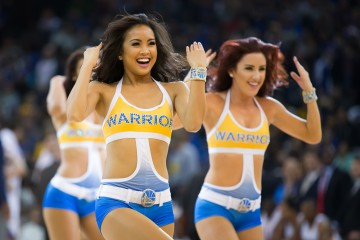 Dec 28, 2015; Oakland, CA, USA; The Golden State Warriors dancers perform during a timeout against the Sacramento Kings during the second quarter at Oracle Arena. Mandatory Credit: Kelley L Cox-USA TODAY Sports