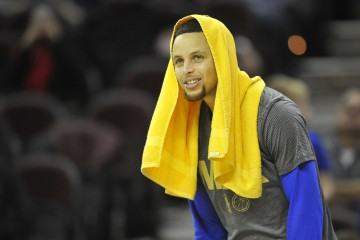 Jan 18, 2016; Cleveland, OH, USA; Golden State Warriors guard Stephen Curry (30) reacts on the bench in the fourth quarter against the Cleveland Cavaliers at Quicken Loans Arena. Mandatory Credit: David Richard-USA TODAY Sports
