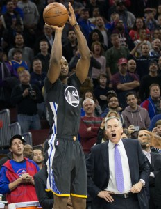 Jan 30, 2016; Philadelphia, PA, USA; Golden State Warriors forward Harrison Barnes (40) hits a game winning three point shot in front of Philadelphia 76ers associate head coach Mike D'Antoni with less then a second to go at Wells Fargo Center. 108-105. Mandatory Credit: Bill Streicher-USA TODAY Sports