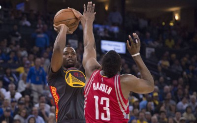 Harrison Barnes Shoots Over James Harden