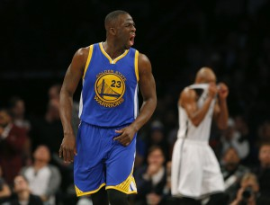 Dec 6, 2015; Brooklyn, NY, USA; Golden State Warriors forward Draymond Green (23) reacts after a three point shot during the second half against the Brooklyn Nets at Barclays Center. The Golden State Warriors defeated the Brooklyn Nets 114-98. Mandatory Credit: Noah K. Murray-USA TODAY Sports