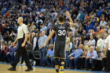 Feb 27, 2016; Oklahoma City, OK, USA; Golden State Warriors guard Stephen Curry (30) reacts after hitting the game winning shot against the Oklahoma City Thunder in overtime at Chesapeake Energy Arena. Mandatory Credit: Mark D. Smith-USA TODAY Sports