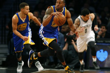 Dec 6, 2015; Brooklyn, NY, USA;  Golden State Warriors forward Andre Iguodala (9) dribbles the ball across the court against the Brooklyn Nets during the first half at Barclays Center. Mandatory Credit: Noah K. Murray-USA TODAY Sports