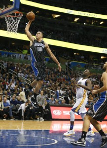 Feb 25, 2016; Orlando, FL, USA; Orlando Magic forward Aaron Gordon (00) shoots during the second half of a basketball game against the Golden State Warriors at Amway Center. The Warriors won 130-114. Mandatory Credit: Reinhold Matay-USA TODAY Sports