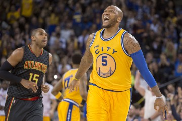 March 1, 2016; Oakland, CA, USA; Golden State Warriors center Marreese Speights (5) celebrates after making a three-point against the Atlanta Hawks during the fourth quarter at Oracle Arena. The Warriors defeated the Hawks 109-105 in overtime. Mandatory Credit: Kyle Terada-USA TODAY Sports