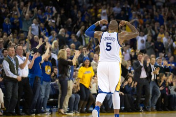 Mar 9, 2016; Oakland, CA, USA; Golden State Warriors center Marreese Speights (5) celebrates after a play against the Utah Jazz during the third quarter at Oracle Arena. The Warriors defeated the Jazz 115-94. Mandatory Credit: Kelley L Cox-USA TODAY Sports