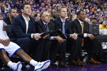 October 29, 2014; Sacramento, CA, USA; Golden State Warriors assistant coach Luke Walton (far left), assistant coach Ron Adams (second from left), head coach Steve Kerr (second from right), and associate head coach Alvin Gentry (far right) watch during the fourth quarter against the Sacramento Kings at Sleep Train Arena. The Warriors defeated the Kings 95-77. Mandatory Credit: Kyle Terada-USA TODAY Sports