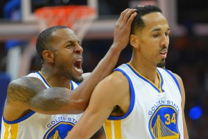 Feb 20, 2016; Los Angeles, CA, USA; Golden State Warriors forward Andre Iguodala (9) pats guard Shaun Livingston (34) on the head after a three point basket in the second half of the game against the Los Angeles Clippers at Staples Center. The Warriors won 115-112. Mandatory Credit: Jayne Kamin-Oncea-USA TODAY Sports