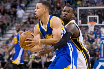 Mar 30, 2016; Salt Lake City, UT, USA; Utah Jazz guard Shelvin Mack (8) defends against Golden State Warriors guard Stephen Curry (30) during overtime at Vivint Smart Home Arena. Golden State won 103-96. Mandatory Credit: Russ Isabella-USA TODAY Sports