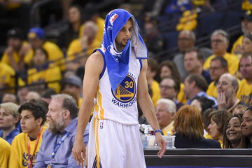 April 16, 2016; Oakland, CA, USA; Golden State Warriors guard Stephen Curry (30) walks to the scorer's table against the Houston Rockets during the second quarter in game one of the second round of the NBA Playoffs at Oracle Arena. Mandatory Credit: Kyle Terada-USA TODAY Sports