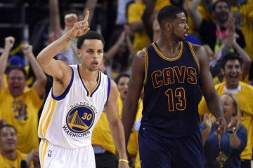 Stephen Curry and Tristan Thompson
