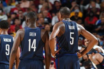 HOUSTON, TX - AUGUST 1:  Kevin Durant #5 and Draymond Green #14 of the USA Basketball Men's National Team stand on the court during the game against Nigeria on August 1, 2016 at the Toyota Center in Houston, Texas. NOTE TO USER: User expressly acknowledges and agrees that, by downloading and or using this photograph, User is consenting to the terms and conditions of the Getty Images License Agreement. Mandatory Copyright Notice: Copyright 2016 NBAE (Photo by Garrett Ellwood/NBAE via Getty Images)
