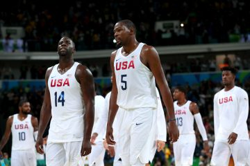 RIO DE JANEIRO, BRAZIL - AUGUST 12:  Kevin Durant #5 and Draymond Green #14 of United States walk off the court after defeating Serbia in the Men's Preliminary Round Group A match on Day 7 of the Rio 2016 Olympic Games at Carioca Arena 1 on August 12, 2016 in Rio de Janeiro, Brazil.  (Photo by Tom Pennington/Getty Images)