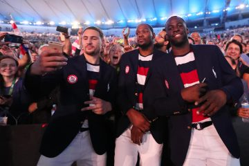 Aug 5, 2016; Rio de Janeiro, Brazil; USA basketball players Klay Thompson , Kevin Durant , Draymond Green during the opening ceremonies for the Rio 2016 Summer Olympic Games at Maracana. Mandatory Credit: Rob Schumacher-USA TODAY Sports