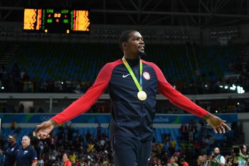 Aug 21, 2016; Rio de Janeiro, Brazil; USA forward Kevin Durant (5) celebrates winning the gold medal in the men's gold game during the during the Rio 2016 Summer Olympic Games at Carioca Arena 1. Mandatory Credit: RVR Photos-USA TODAY Sports