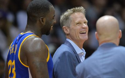 Oct 19, 2016; San Diego, CA, USA; Golden State Warriors head coach Steve Kerr (center) laughs next to forward Draymond Green (23) during the third quarter against the Los Angeles Lakers at Valley View Casino Center. Mandatory Credit: Jake Roth-USA TODAY Sports