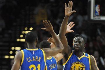 Nov 1, 2016; Portland, OR, USA; Golden State Warriors forward Draymond Green (23) celebrates with teammates during the third quarter of the game against the Portland Trail Blazers at the Moda Center at the Rose Quarter. Mandatory Credit: Steve Dykes-USA TODAY Sports