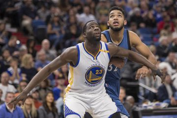 Dec 11, 2016; Minneapolis, MN, USA; Golden State Warriors forward Draymond Green (23) and Minnesota Timberwolves center Karl-Anthony Towns (32) wait for a rebound during a free throw in the second half at Target Center. The Warriors won 116-108. Mandatory Credit: Jesse Johnson-USA TODAY Sports