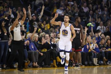 OAKLAND, CA - JANUARY 10:  Stephen Curry #30 of the Golden State Warriors reacts after he made a three-point basket over Dion Waiters #11 of the Miami Heat at ORACLE Arena on January 10, 2017 in Oakland, California.  NOTE TO USER: User expressly acknowledges and agrees that, by downloading and or using this photograph, User is consenting to the terms and conditions of the Getty Images License Agreement.  (Photo by Ezra Shaw/Getty Images)