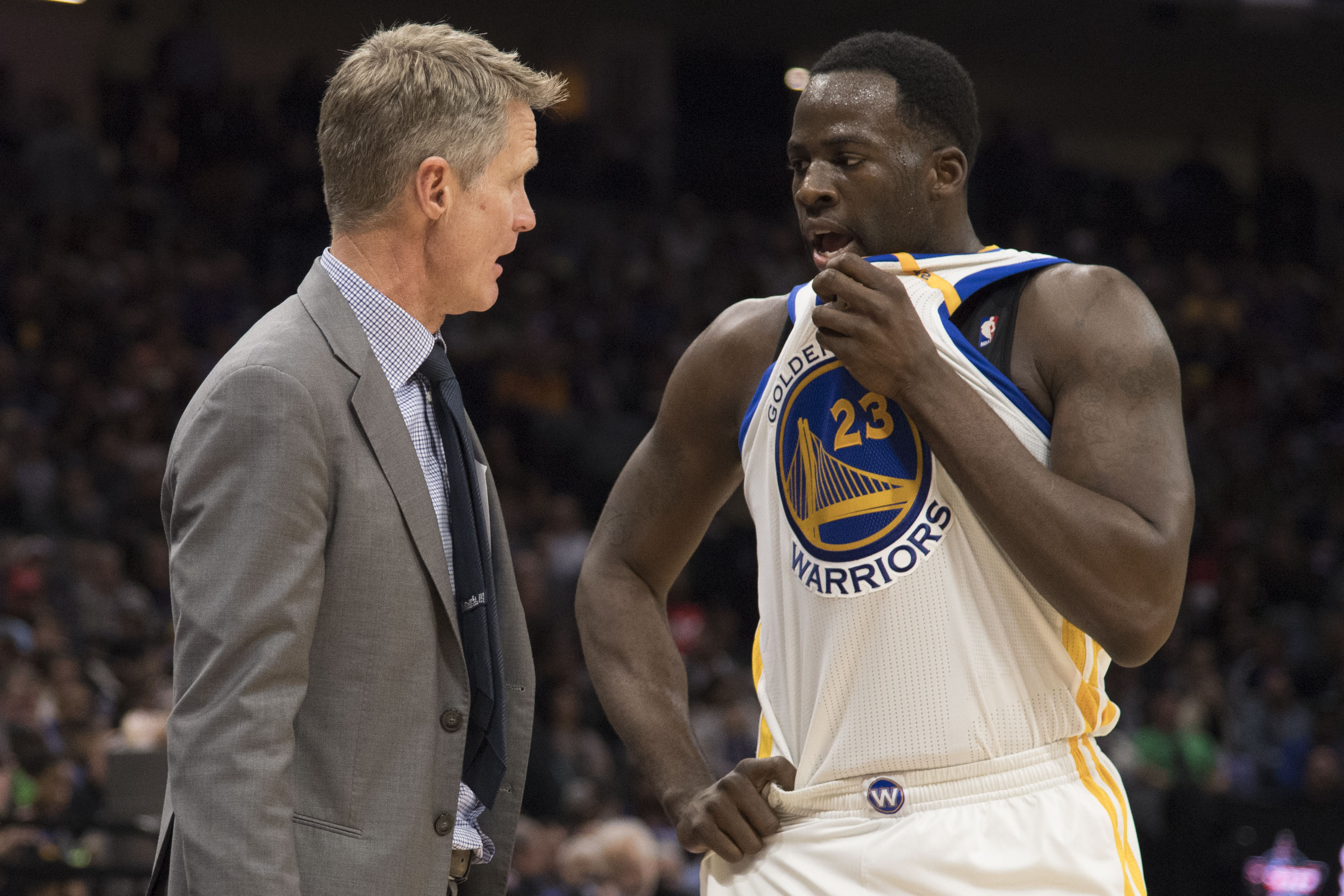 January 8, 2017; Sacramento, CA, USA; Golden State Warriors head coach Steve Kerr (left) instructs forward Draymond Green (23) against the Sacramento Kings during the third quarter at Golden 1 Center. The Warriors defeated the Kings 117-106. Mandatory Credit: Kyle Terada-USA TODAY Sports