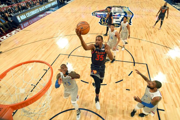 NEW ORLEANS, LA - FEBRUARY 19:  Kevin Durant #35 of the Golden State Warriors goes up for a shot against LeBron James #23 of the Cleveland Cavaliers during the 2017 NBA All-Star Game at Smoothie King Center on February 19, 2017 in New Orleans, Louisiana. NOTE TO USER: User expressly acknowledges and agrees that, by downloading and/or using this photograph, user is consenting to the terms and conditions of the Getty Images License Agreement.  (Photo by Bob Donnan - Pool/Getty Images)