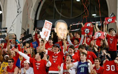 Jan 24, 2017; Davidson, NC, USA; The Davidson Wildcats students celebrate after the student section is renamed Section 30 after Golden State Warrior guard Stephen Curry during halftime of the game against the Duquesne Dukes at McKillop Court at John M. Belk Arena. Davidson defeated Duquesne 74-60. Mandatory Credit: Jeremy Brevard-USA TODAY Sports